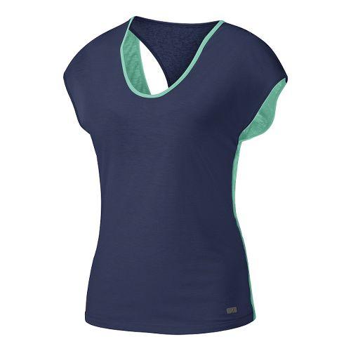 Womens ASICS Fit-Sana Reversible Short Sleeve Technical Tops - Aqua Mint/Indigo M