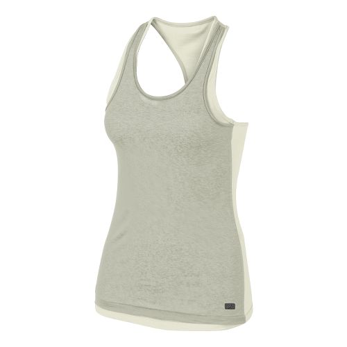 Womens ASICS Fit-Sana Reversible Tank Technical Tops - Vanilla Ice/Grey XS