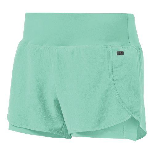 Womens ASICS Fit-Sana 2 in 1 Shorts - Aqua Mint L