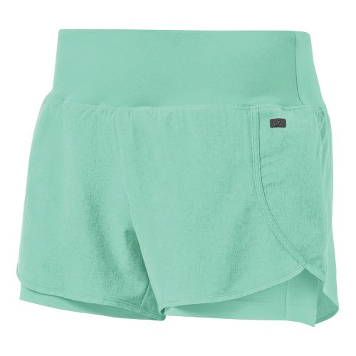 Womens ASICS Fit-Sana 2 in 1 Shorts - Aqua Mint XS