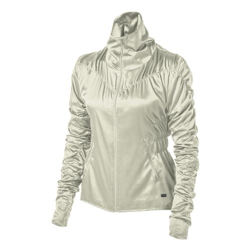 Womens ASICS Fit-Sana Ruched Warm Up Unhooded Jackets - Vanilla Ice XL