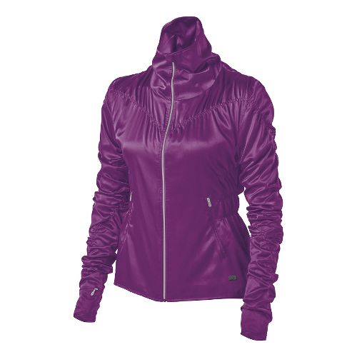 Womens ASICS Fit-Sana Ruched Warm Up Unhooded Jackets - Byzantium XL