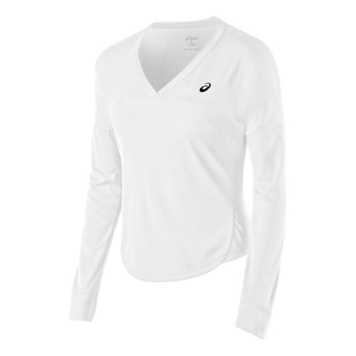 Womens ASICS Club Top Long Sleeve No Zip Technical Tops - Real White XS
