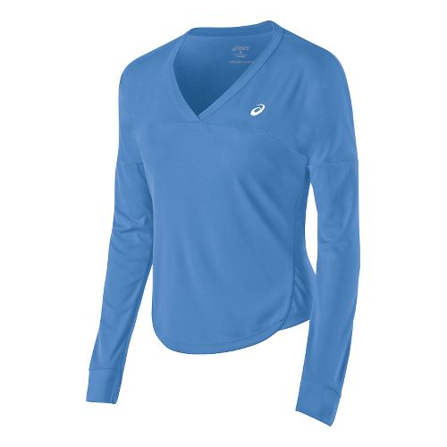Womens ASICS Club Top Long Sleeve No Zip Technical Tops - Marina XS