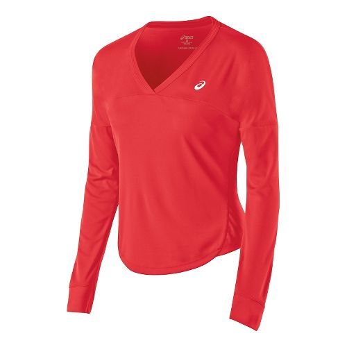 Womens ASICS Club Top Long Sleeve No Zip Technical Tops - Hibiscus XS