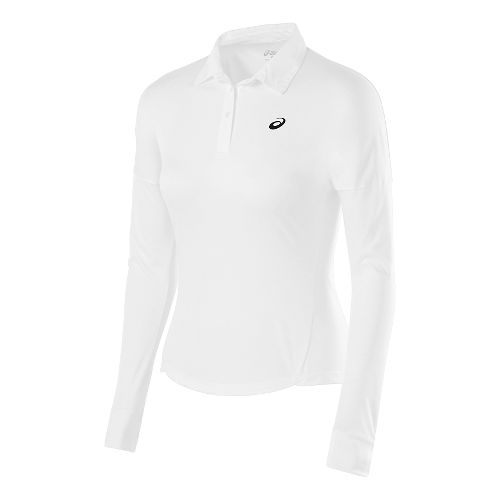 Womens ASICS Club Polo Long Sleeve No Zip Technical Tops - Real White M