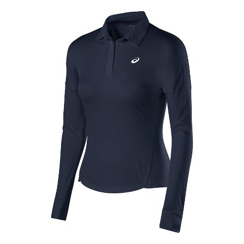 Womens ASICS Club Polo Long Sleeve No Zip Technical Tops - Dark Cobalt XS