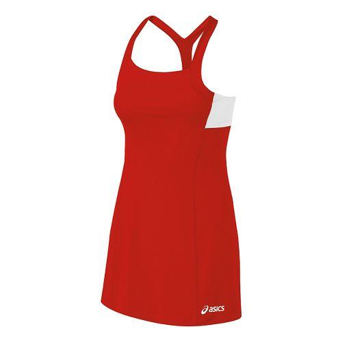 Womens ASICS Rally Dress Fitness Skirts - Red/White M