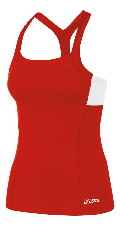 Womens ASICS Rally Tank Technical Tops - Red/White XXL