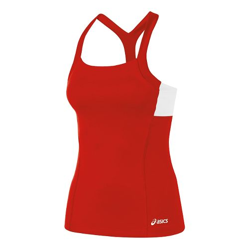 Womens ASICS Rally Tank Technical Tops - Red/White M