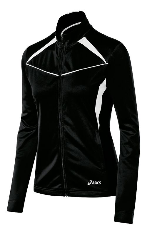 Womens ASICS Cali Warm Up Unhooded Jackets - Black/White XL