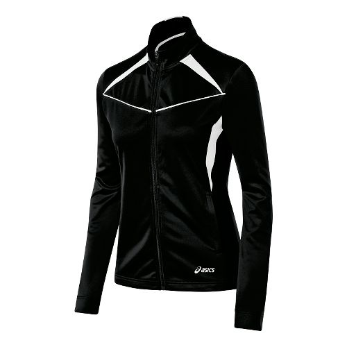 Womens ASICS Cali Warm Up Unhooded Jackets - Black/White L