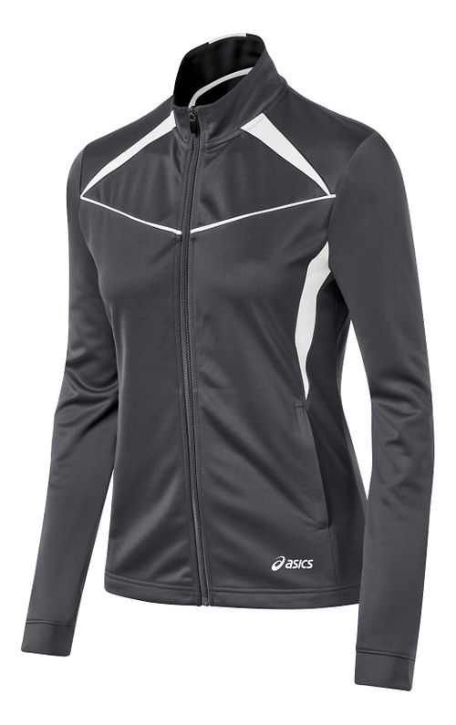 Womens ASICS Cali Warm Up Unhooded Jackets - Steel Grey/White S