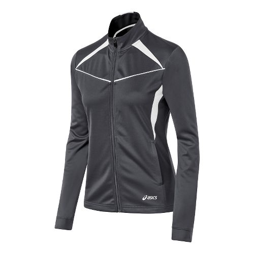 Womens ASICS Cali Warm Up Unhooded Jackets - Steel Grey/White M