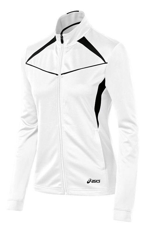Womens ASICS Cali Warm Up Unhooded Jackets - White/Black XS