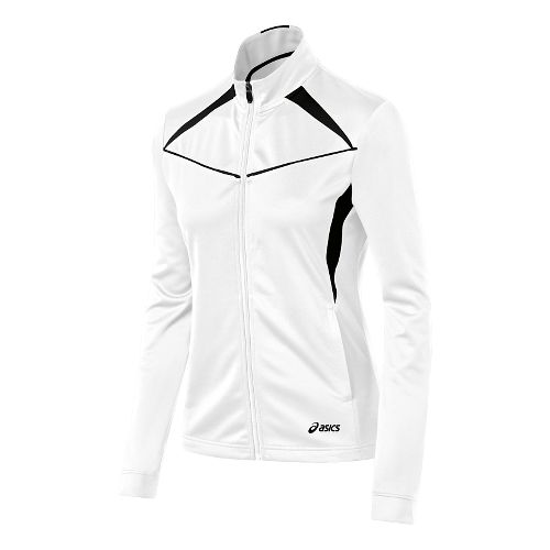 Womens ASICS Cali Warm Up Unhooded Jackets - White/Black XL