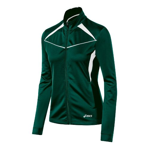 Womens ASICS Cali Warm Up Unhooded Jackets - Forest/White L