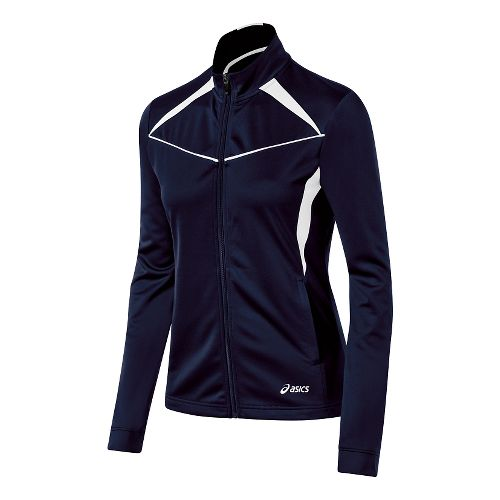 Womens ASICS Cali Warm Up Unhooded Jackets - Navy/White L