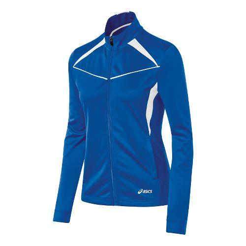 Womens ASICS Cali Warm Up Unhooded Jackets - Royal/White XS