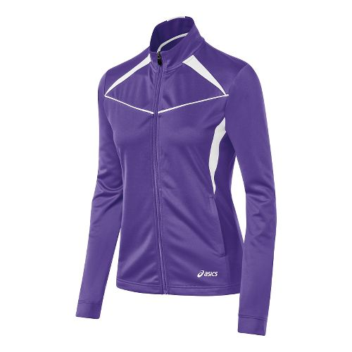 Womens ASICS Cali Warm Up Unhooded Jackets - Purple/White L