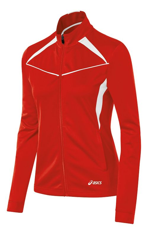 Womens ASICS Cali Warm Up Unhooded Jackets - Red/White XXL