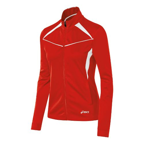 Womens ASICS Cali Warm Up Unhooded Jackets - Red/White L
