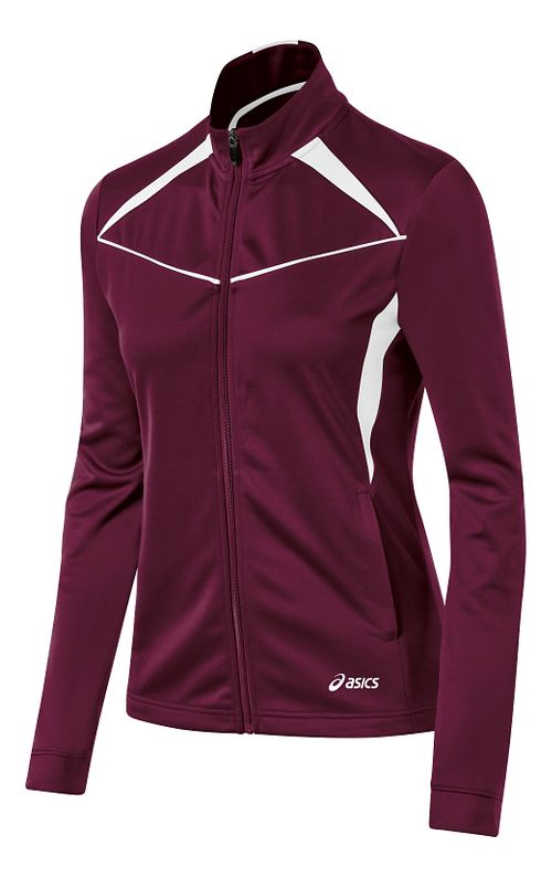 Womens ASICS Cali Warm Up Unhooded Jackets - Maroon/White L