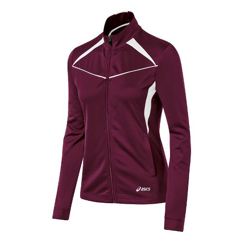 Womens ASICS Cali Warm Up Unhooded Jackets - Maroon/White S