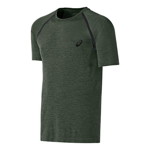 Mens ASICS Seamless Short Sleeve Technical Tops - Hampton Green L