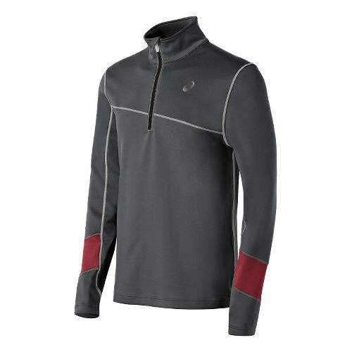 Mens ASICS Thermal XP Long Sleeve Half Zip Technical Tops - Dark Grey/Deep Ruby XXL ...