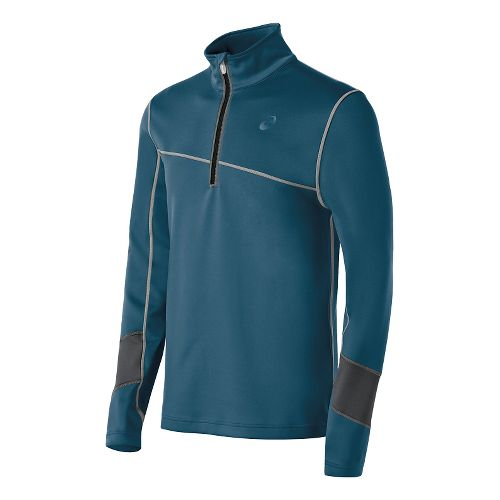 Mens ASICS Thermal XP Long Sleeve Half Zip Technical Tops - Mosaic Blue/Grey M