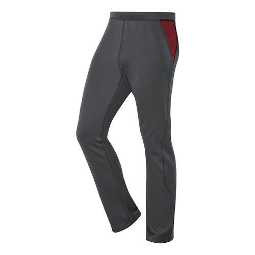 Mens ASICS Thermal XP Slim Full Length Pants - Dark Grey/Deep Ruby S