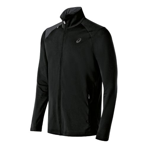 Mens ASICS Thermopolis Full Zip Lightweight Jackets - Black/Dark Grey M