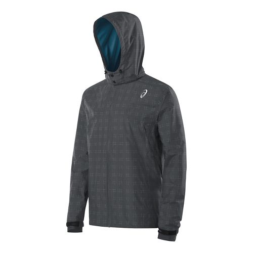 Mens ASICS Storm Shelter Warm Up Hooded Jackets - Dark Grey L