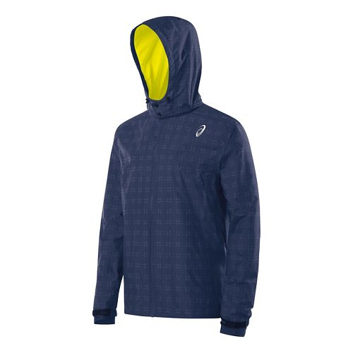 Mens ASICS Storm Shelter Warm Up Hooded Jackets - Indigo Blue XXL