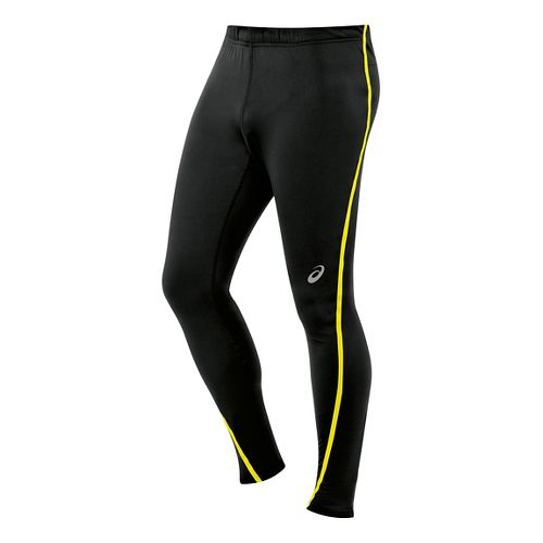 Mens ASICS Lite-Show Winter Tights - Black/Safety Yellow L