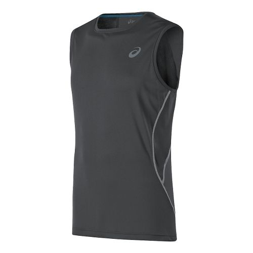 Mens ASICS Lite-Show Sleeveless Technical Tops - Dark Grey XL