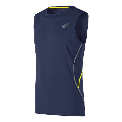 Mens ASICS Lite-Show Sleeveless Technical Tops - Indigo Blue XL