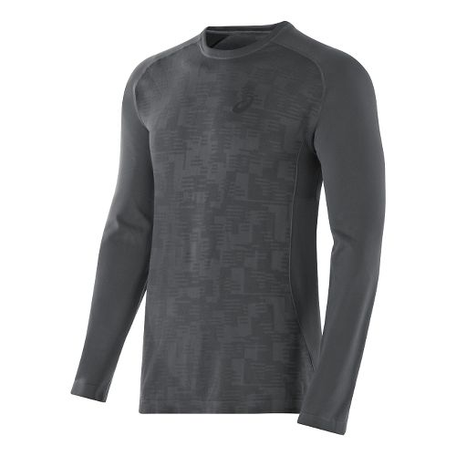 Mens ASICS Seamless Long Sleeve No Zip Technical Tops - Dark Grey XL