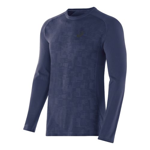 Mens ASICS Seamless Long Sleeve No Zip Technical Tops - Indigo Blue L