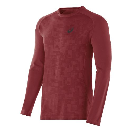 Mens ASICS Seamless Long Sleeve No Zip Technical Tops - Deep Ruby XL