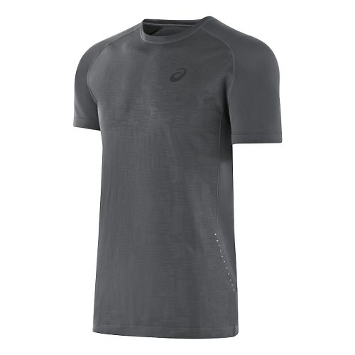 Mens ASICS Seamless Short Sleeve Technical Tops - Dark Grey Heather L