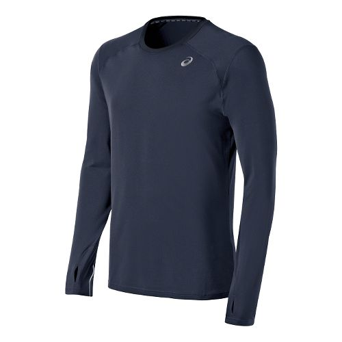 Mens ASICS PR Lyte Long Sleeve No Zip Technical Tops - Dark Cobalt S