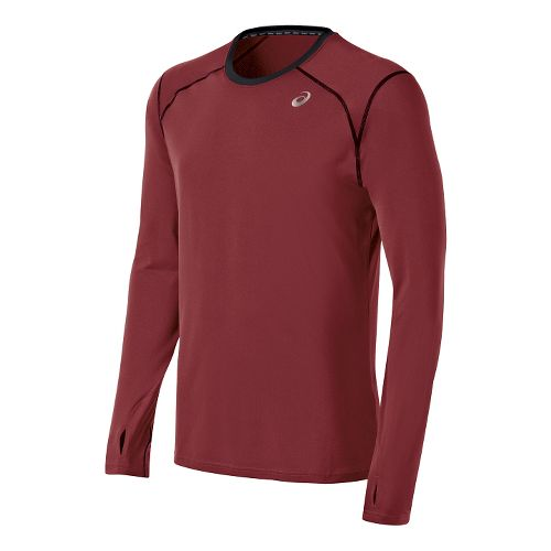 Mens ASICS PR Lyte Long Sleeve No Zip Technical Tops - Deep Ruby XXL