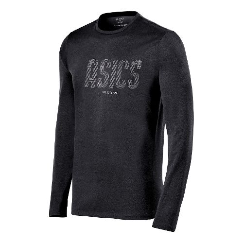 Mens ASICS One Track Mind Long Sleeve No Zip Technical Tops - Performance Black XXL ...