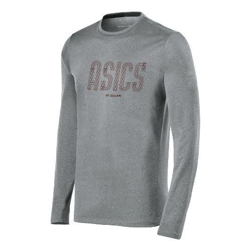 Mens ASICS One Track Mind Long Sleeve No Zip Technical Tops - Dark Grey Heather ...