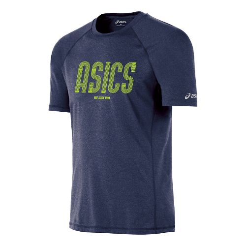 Mens ASICS One Track Mind Short Sleeve Technical Tops - Indigo Blue/Frost L
