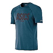 Mens ASICS One Track Mind Short Sleeve Technical Tops