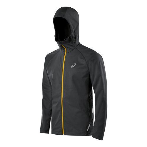 Mens ASICS Fuji trail Softshell Warm Up Hooded Jackets - Dark Grey L