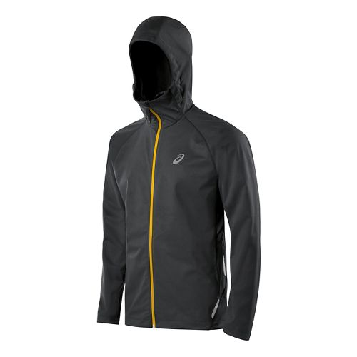 Mens ASICS Fuji trail Softshell Warm Up Hooded Jackets - Dark Grey M
